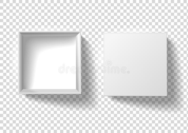 Ilustra??o do vetor da caixa branca do pacote vazio quadrado de papel real?stico do cart?o 3D ou da caixa com tamp?o aberto ilustração royalty free