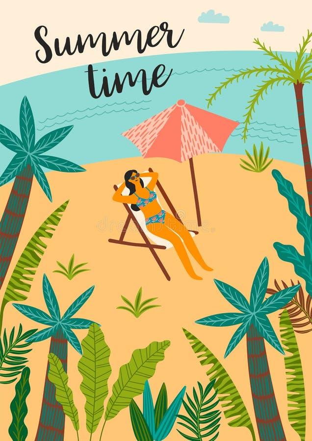 Ilustra??o do vetor da praia e do mar tropicais Elemento do projeto ilustração royalty free