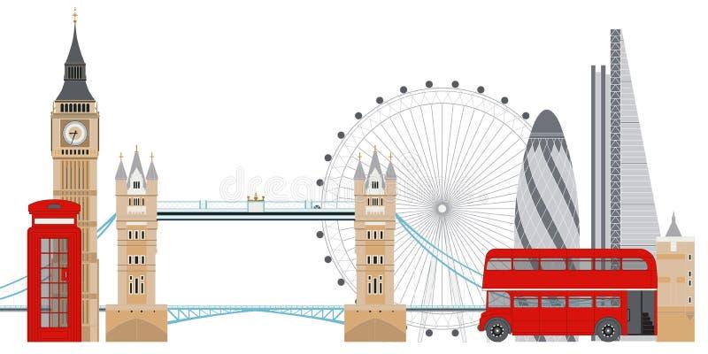 Ilustra??o do vetor da skyline de Londres Sightseenigs famosos de Londres ilustração royalty free