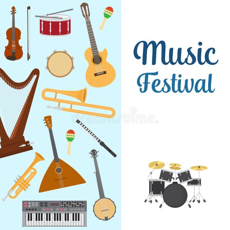 Ilustra??o do vetor dos instrumentos musicais Ajuste dos instrumentos musicais tocam trombeta, registro, piano e guitarra, xilofo ilustração royalty free