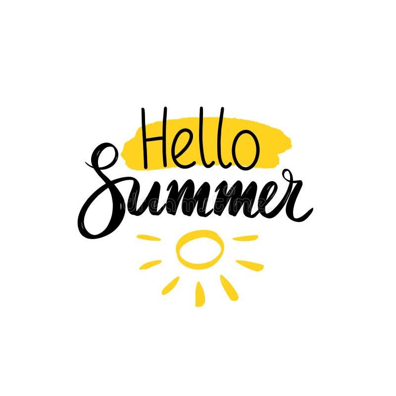 Ilustra??o do vetor Escove a rotulação da composição olá! de palavras do verão em um claro - ponto amarelo com sol ilustração do vetor