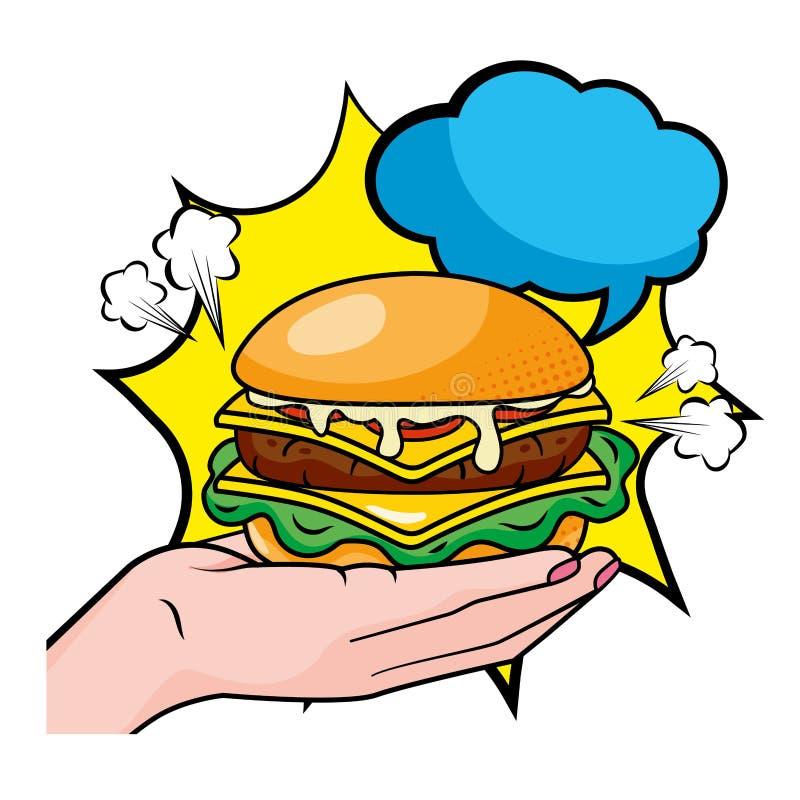 Ilustra??o do vetor do Hamburger da terra arrendada da m?o ilustração royalty free