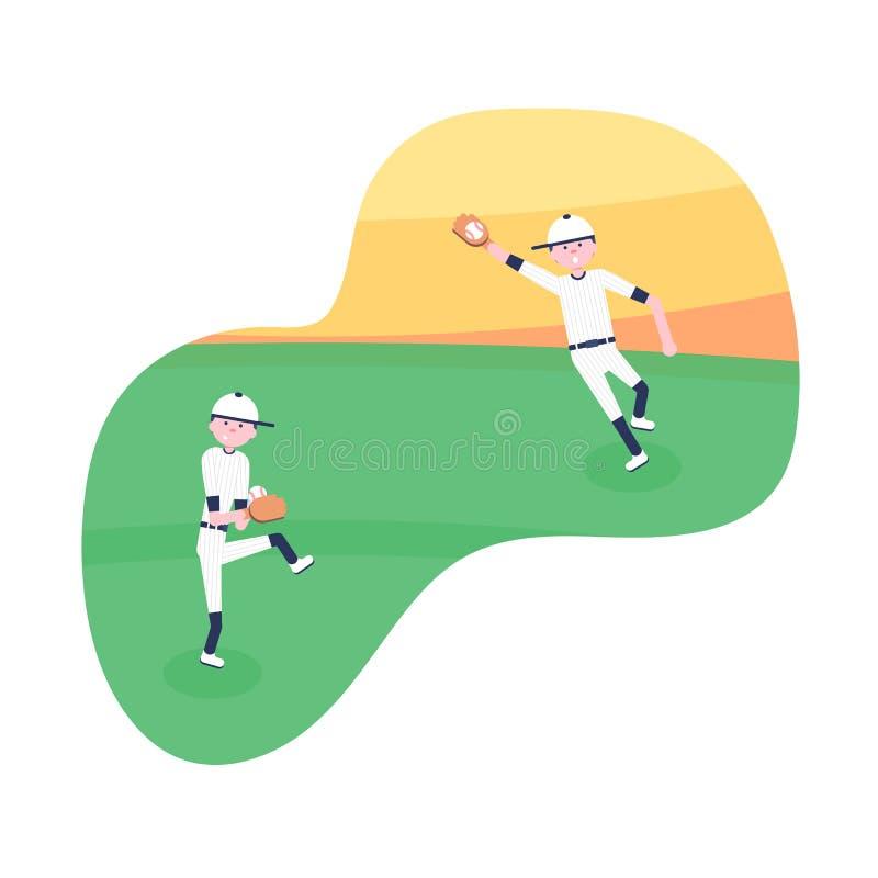 Ilustra??o do vetor Jogadores dos desenhos animados do basebol ilustração do vetor