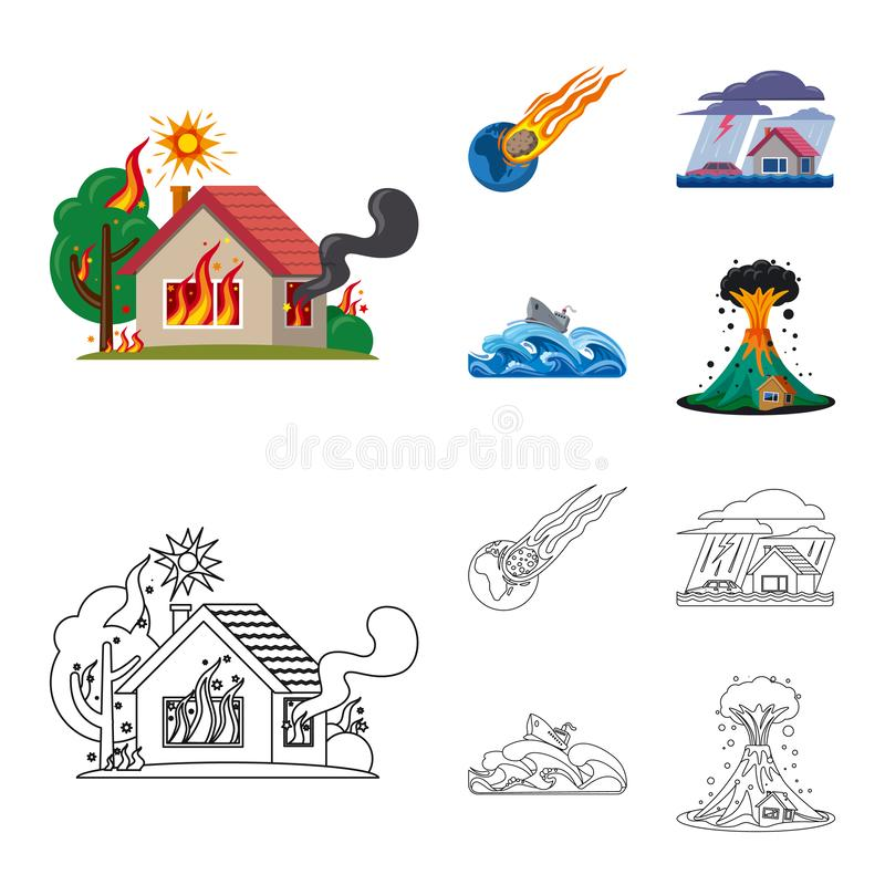 Ilustra??o do vetor do logotipo natural e do desastre Grupo de s?mbolo de a??es natural e do risco para a Web ilustração stock
