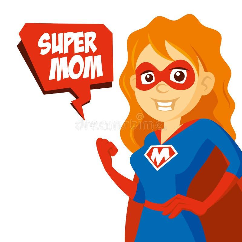 Ilustra??o do vetor do personagem de banda desenhada do Supermom da mulher do super-her?i ilustração do vetor