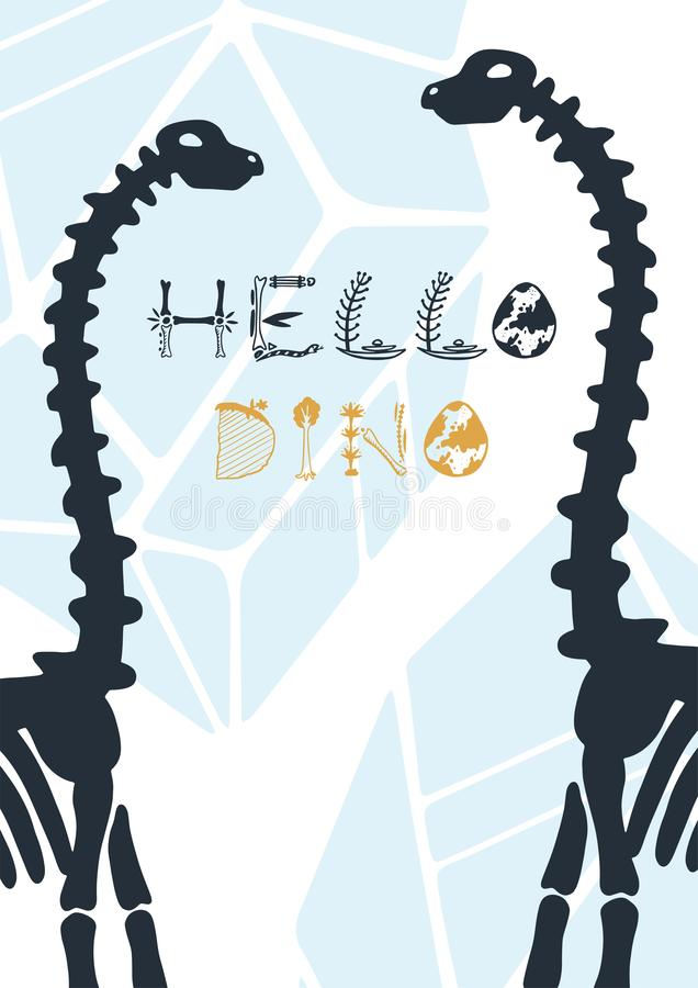 Ilustra??o dos dinossauros do vetor Cartaz ol?! Dino de Dino dos desenhos animados ilustração royalty free