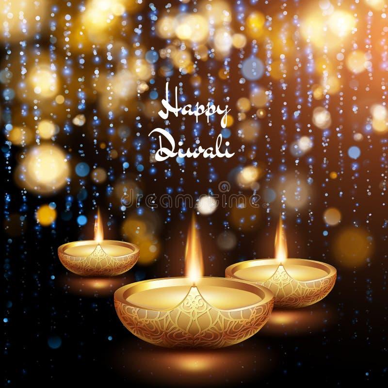 Ilustra??o feliz de Diwali do diya de queimadura Fundo do feriado Eps 10 ilustração do vetor