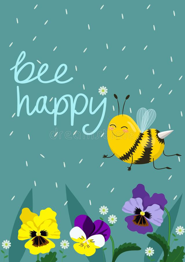 Ilustra??o feliz do vetor da abelha Texto indicado por letras da m?o com abelhas ilustração stock