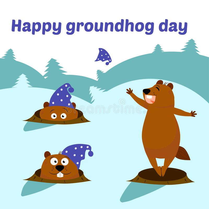 Ilustra??o lisa do vetor isolada no fundo branco texto Projeto feliz do dia de Groundhog Ajuste das marmota brilhantes O bonito ilustração royalty free