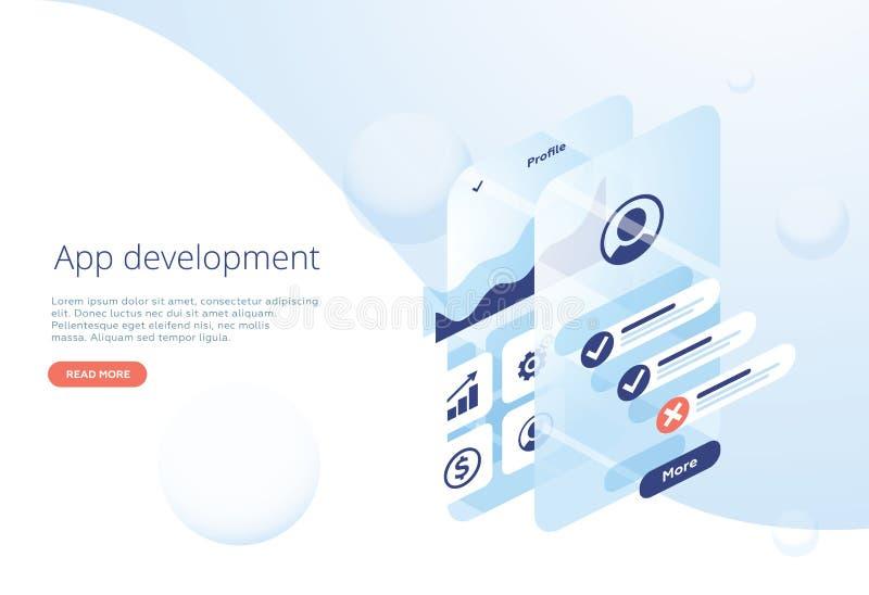Ilustra??o lisa moderna do projeto do desenvolvimento do App Pode ser usado para o Web site e o Web site ou a p?gina m?vel da ate ilustração do vetor