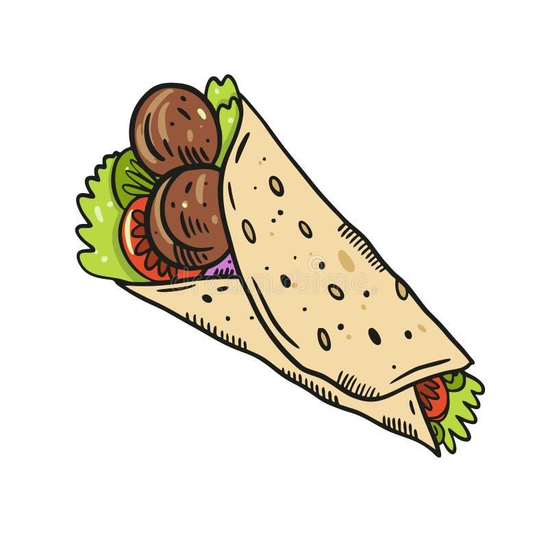Ilustra??o mexicana do vetor do fajita ou do burrito do alimento ilustração royalty free