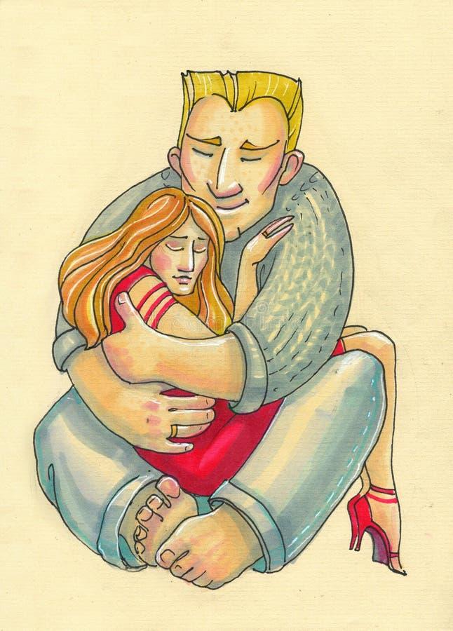 Ilustra??o no estilo dos desenhos animados homem forte grande e sua mulher fr?gil pequena embrace homem da casa e menina da forma ilustração stock