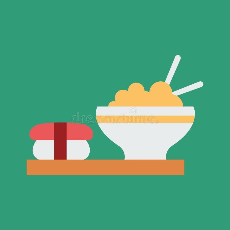Ilustra??o simples do vetor com capacidade para mudar Alimento asiático do ícone da silhueta ilustração royalty free
