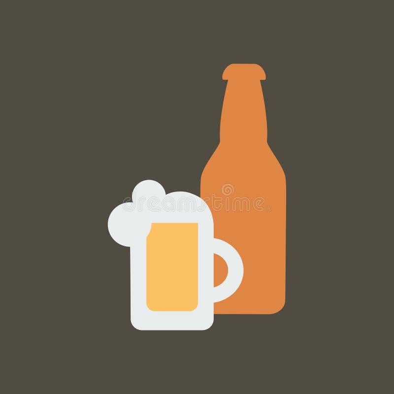 Ilustra??o simples do vetor com capacidade para mudar Cerveja do ícone da silhueta ilustração stock
