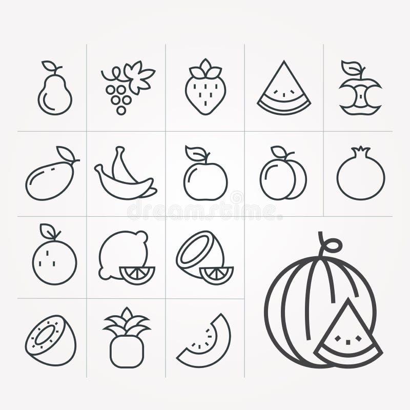 Ilustra??o simples do vetor com capacidade para mudar ?cones do fruto do vetor ilustração stock