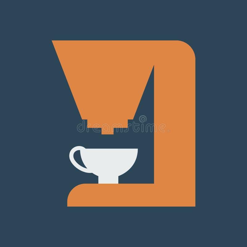 Ilustra??o simples do vetor com capacidade para mudar Fabricante de café do ícone da silhueta ilustração royalty free