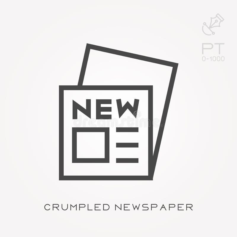 Ilustra??o simples do vetor com capacidade para mudar Linha jornal amarrotado ?cone ilustração stock