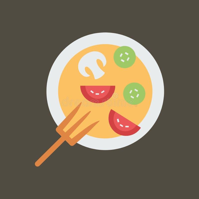 Ilustra??o simples do vetor com capacidade para mudar Salada do ícone da silhueta ilustração royalty free