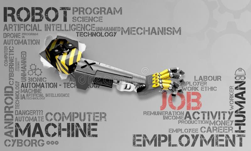Ilustra??o sobre os rob?s que tomam a seres humanos trabalhos