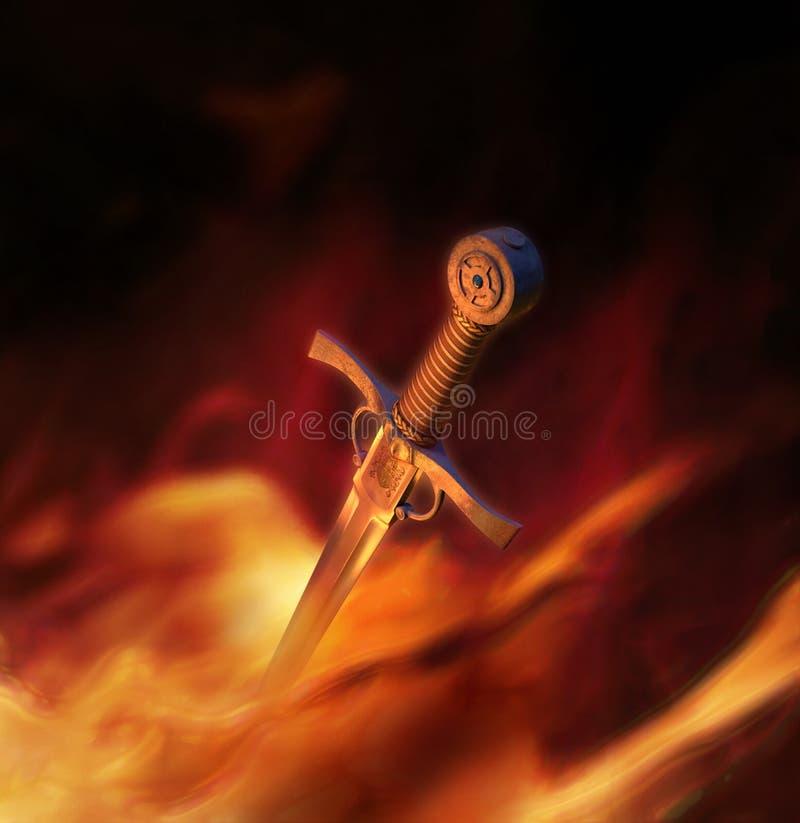 ilustración 3D de una espada medieval en fuego ilustración del vector