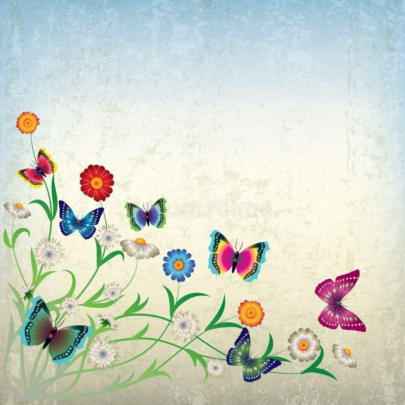 Ilustración abstracta con las flores y la mariposa libre illustration