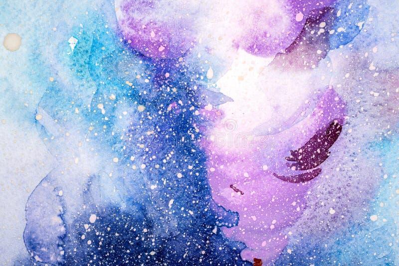 Ilustración abstracta de la acuarela Pintura exhausta del watercolour de la mano Las manchas blancas /negras coloridas texturizar imagen de archivo libre de regalías