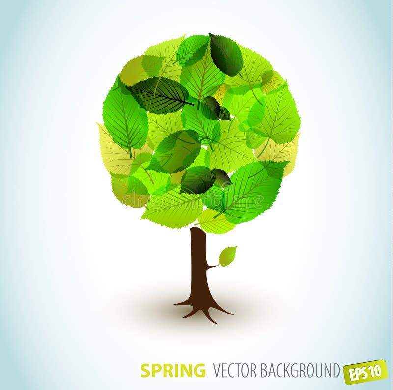 Ilustración abstracta del árbol del resorte del vector libre illustration