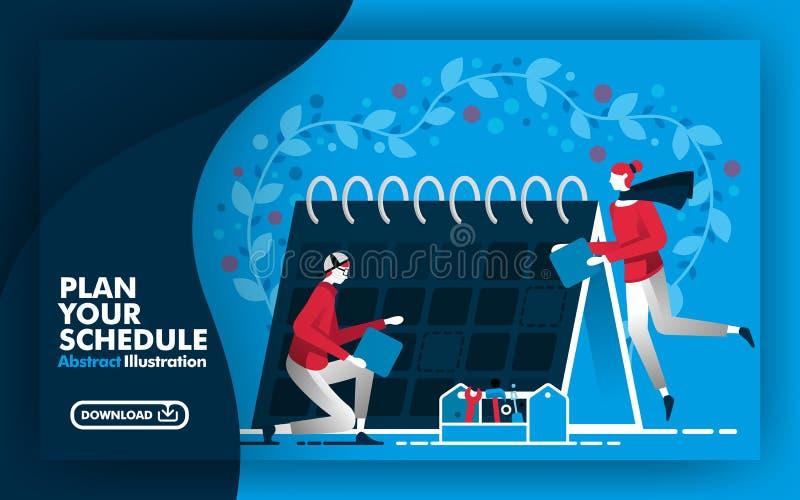 Ilustración abstracta del vector Bandera y cartel de la web en azul y azul marino con plan del título su horario gente que trabaj libre illustration