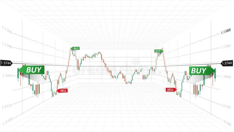 Ilustración abstracta del vector Datos del mercado financiero Concepto comercial de las divisas Símbolo de la bolsa de acción ilu ilustración del vector