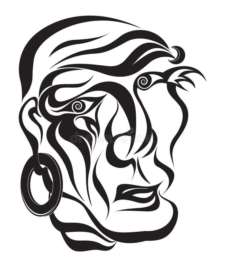 Ilustración abstracta del vector del retrato stock de ilustración