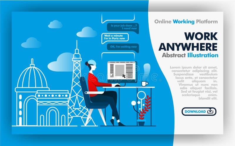 Ilustración abstracta del vector web de la bandera o diseño azul y blanca del cartel sobre trabajo dondequiera trabajo del trabaj stock de ilustración