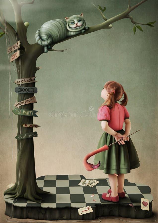 Ilustración al cuento de hadas Alicia en el país de las maravillas ilustración del vector