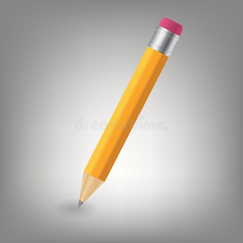 Ilustración amarilla del icono del lápiz stock de ilustración