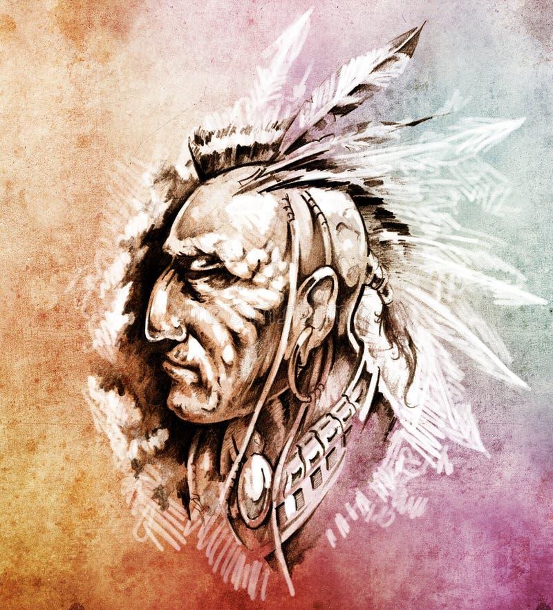 Ilustración americana del jefe indio stock de ilustración