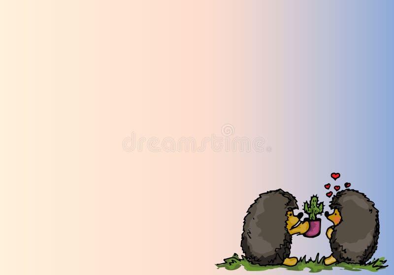 Ilustración Amor de los erizos de la historieta stock de ilustración