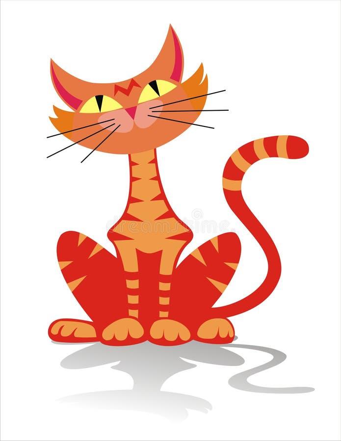 Ilustración anaranjada del gato de tabby ilustración del vector