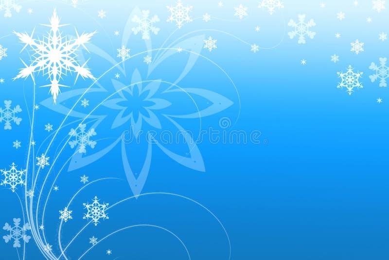 Ilustración azul del fondo de los copos de nieve y de los remolinos ilustración del vector