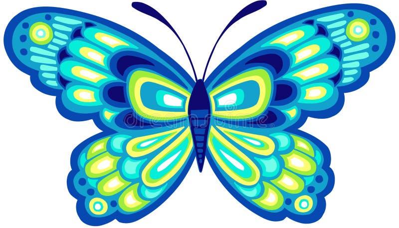 Ilustración azul del vector de la mariposa stock de ilustración