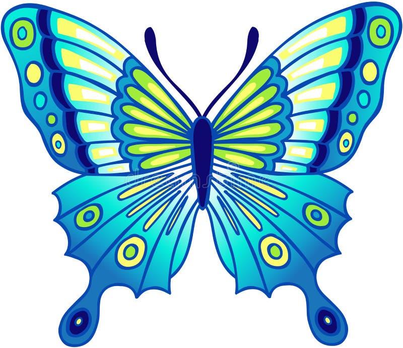 Ilustración azul del vector de la mariposa ilustración del vector