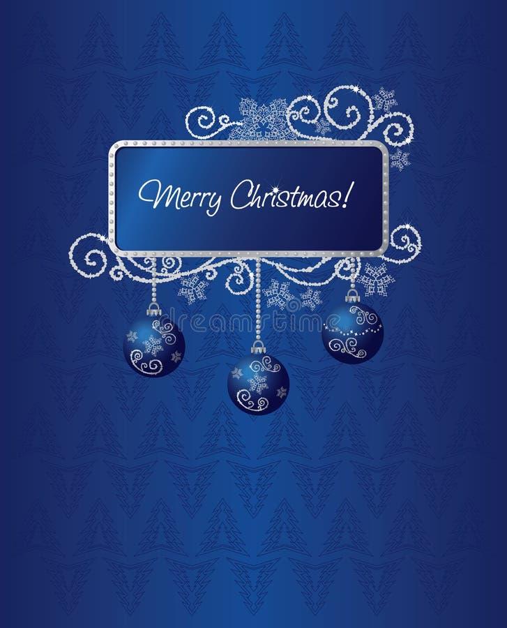 Ilustración azul y de plata de la tarjeta de Navidad ilustración del vector