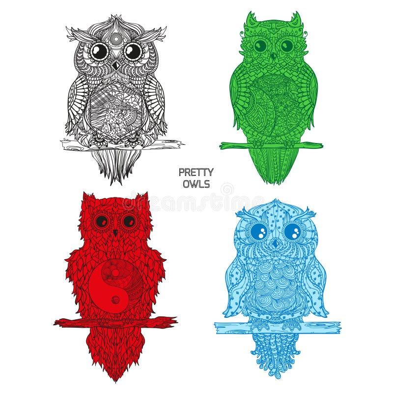 Ilustración Búhos de la creación del arte libre illustration