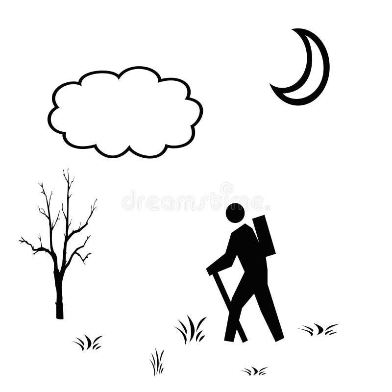 Ilustración blanca negra del caminante fotografía de archivo libre de regalías