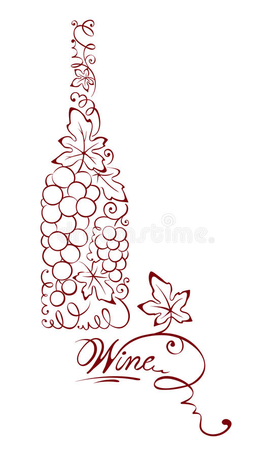 Ilustración -- botella de vino abstracta ilustración del vector