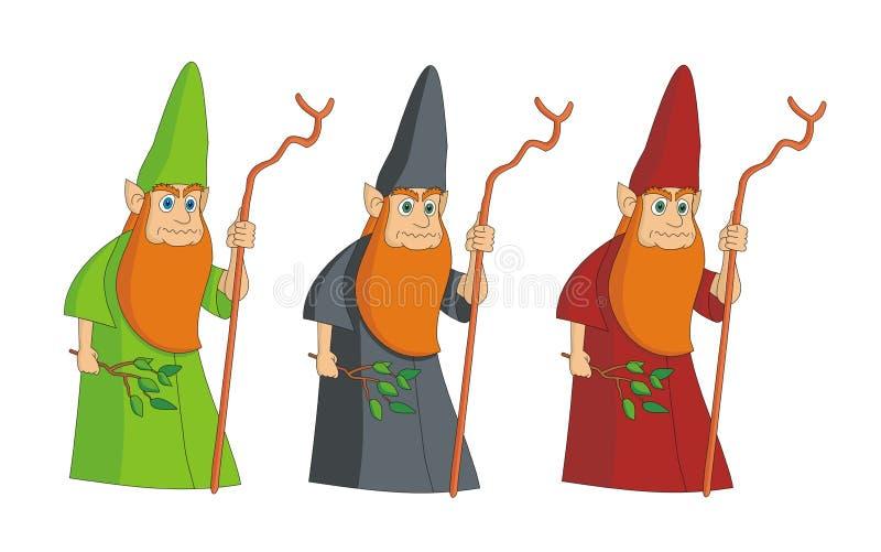 Ilustración c del vector del mago del leprechaun del hechicero stock de ilustración