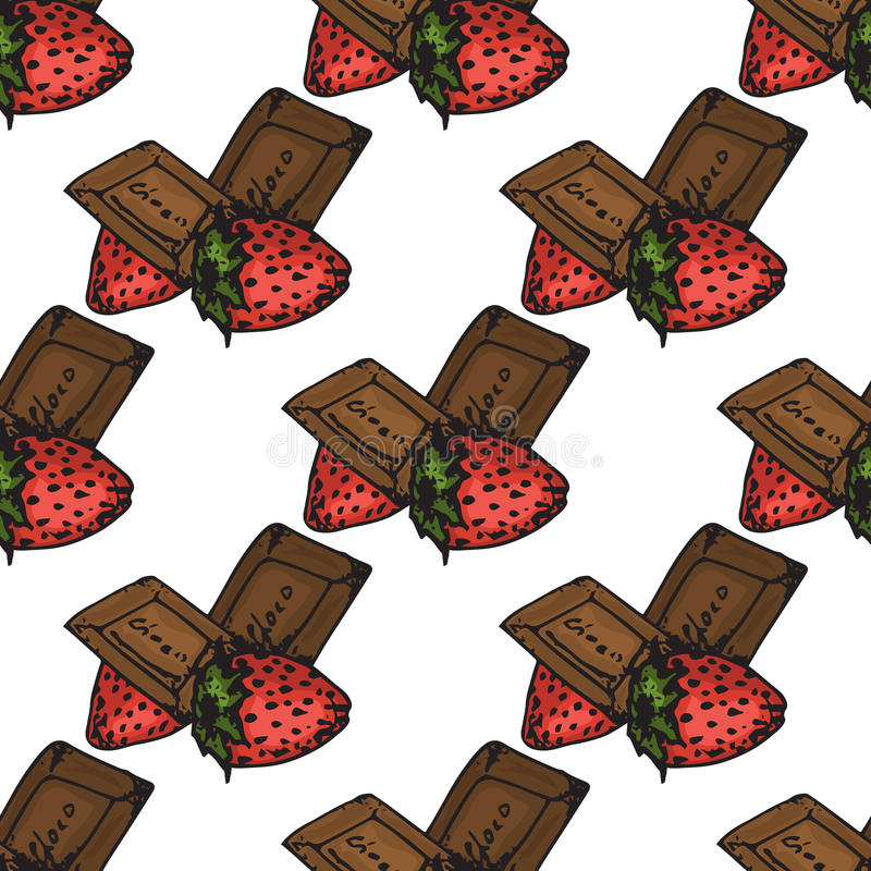 Ilustración Chocolates con las fresas Para usted día de fiesta feliz Modelo inconsútil stock de ilustración