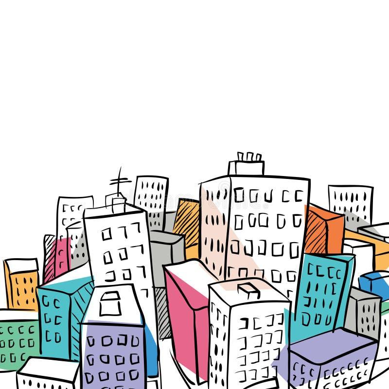 Ilustración cobarde del doodle de la ciudad ilustración del vector