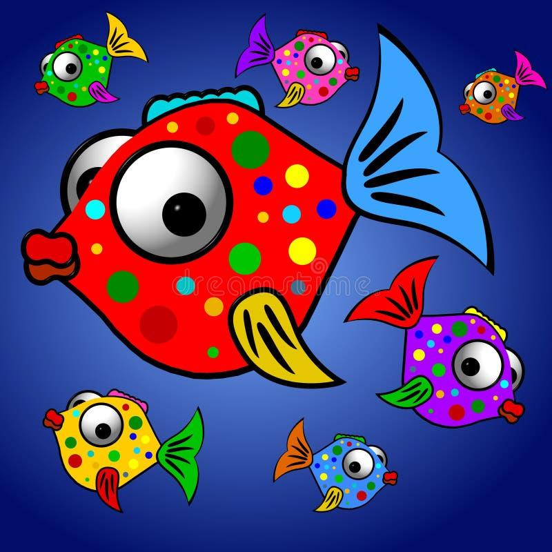 Ilustración colorida de los pescados ilustración del vector
