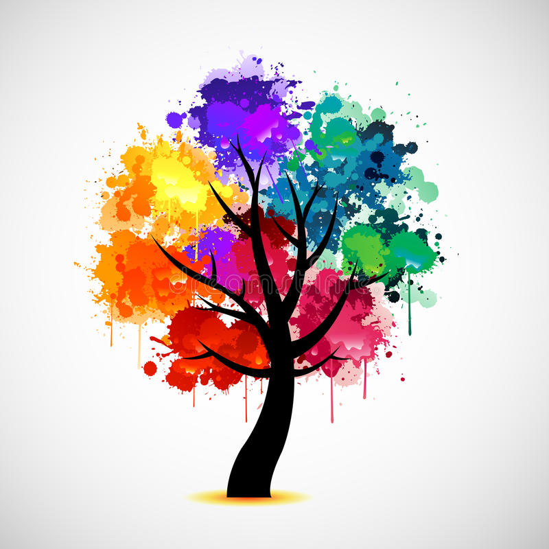 Ilustración colorida del extracto del árbol stock de ilustración