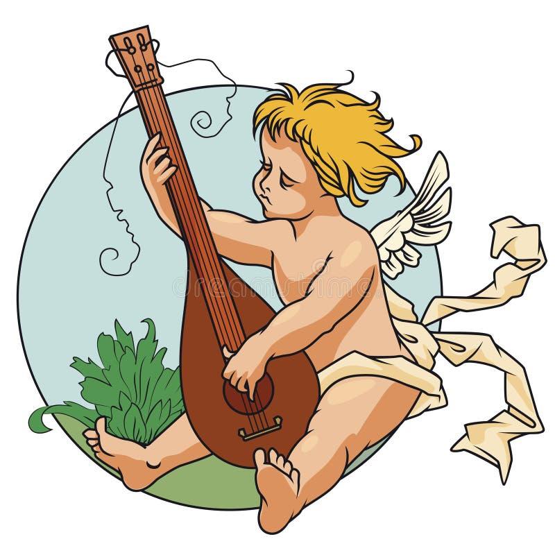 Ilustración común Día de tarjeta del día de San Valentín feliz Ángel con un laúd stock de ilustración