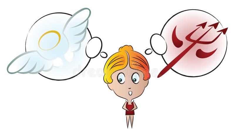 Ilustración común del vector Muchacha divertida con diversas emociones La opción entre el bien y el mal ilustración del vector